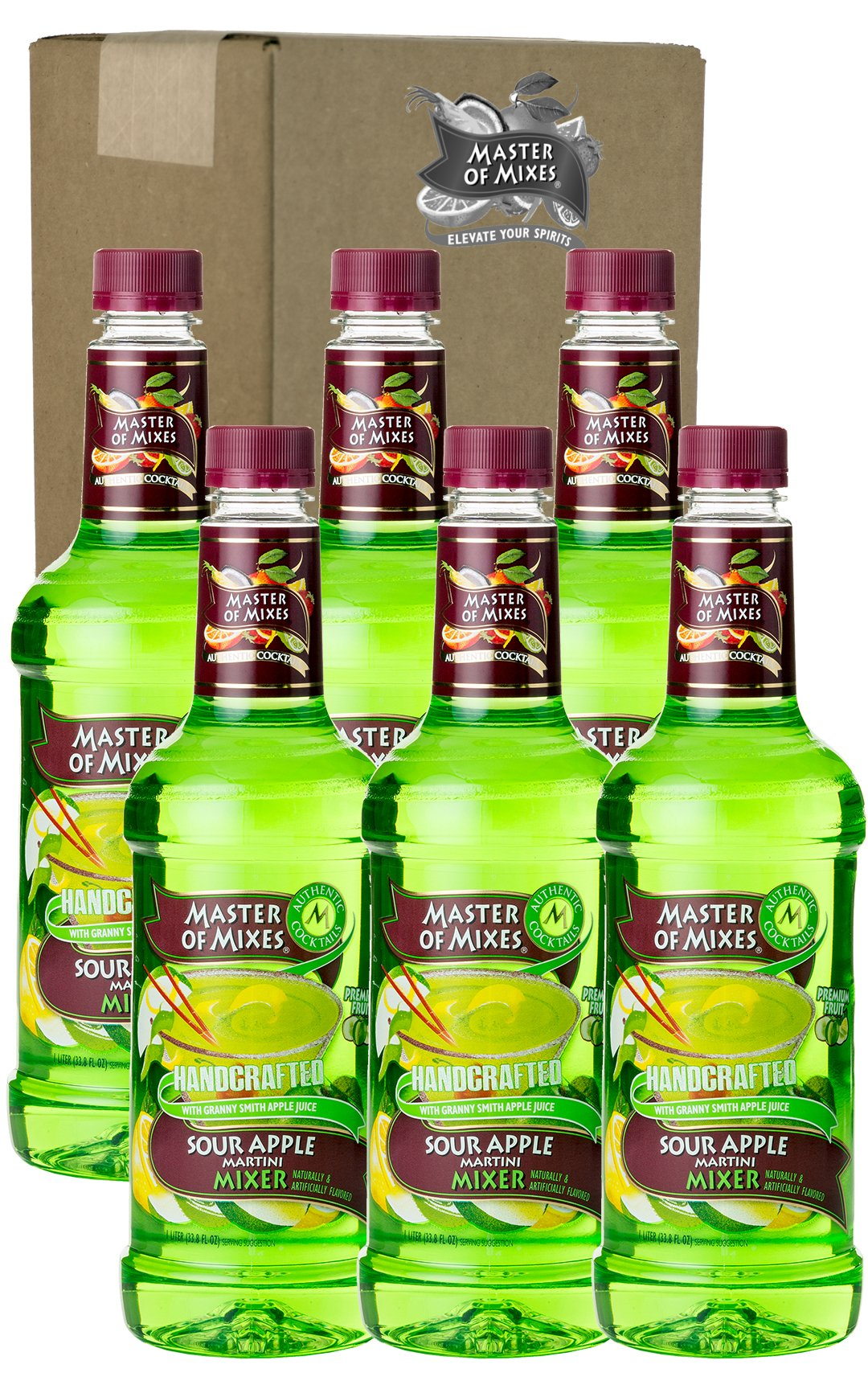 Master of Mixes Sour Apple Martini Drink Mix, Ready to Use, 1 Liter Bottle (33.8 Fl Oz), Pack of 6 by Master of Mixes