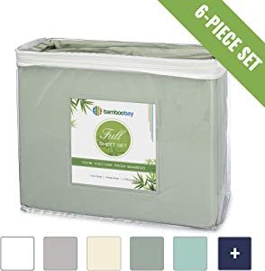 100% Viscose from Bamboo Sheets - Cooling, Soft 6-Piece Bamboo Sheet Set - Extra Deep Pocket, No-Slip Fitted Sheet - Comfy and Breathable Bamboo Sheets (Full, Sage)