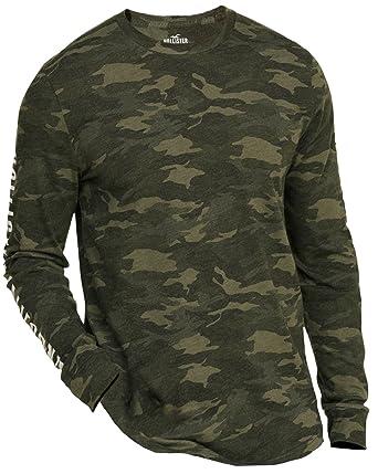 Hollister Men S Longsleeve Graphic Tee T Shirt Size L Green