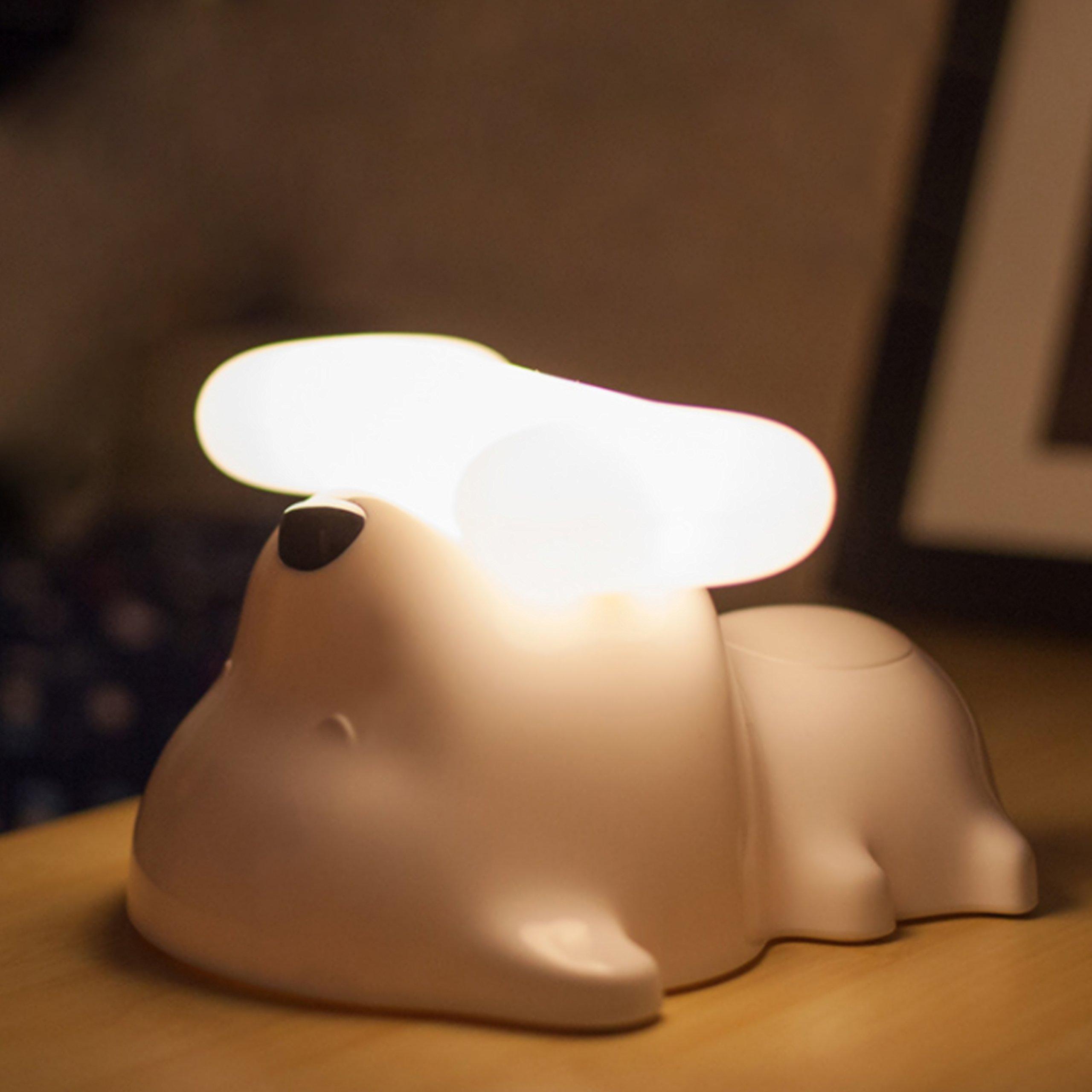 Dog Shaped Night Light, Cordless Bedside Touch Sensor LED Puppy Lamp, White