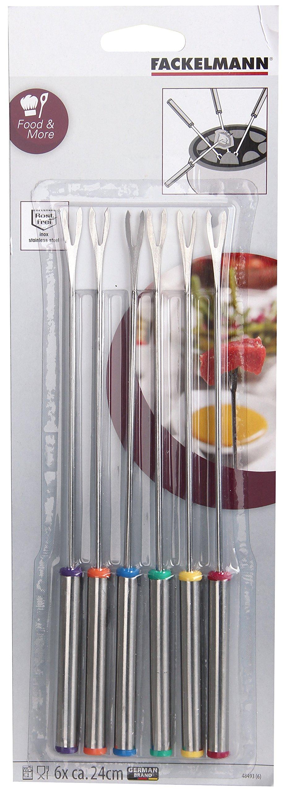 Fackelmann 48493 6 pieces 9, 4'' of stainless steel Fondue forks Set, Silver/Black/Blue/Yellow/Orange/Green/Red, One size by Fackelmann (Image #3)