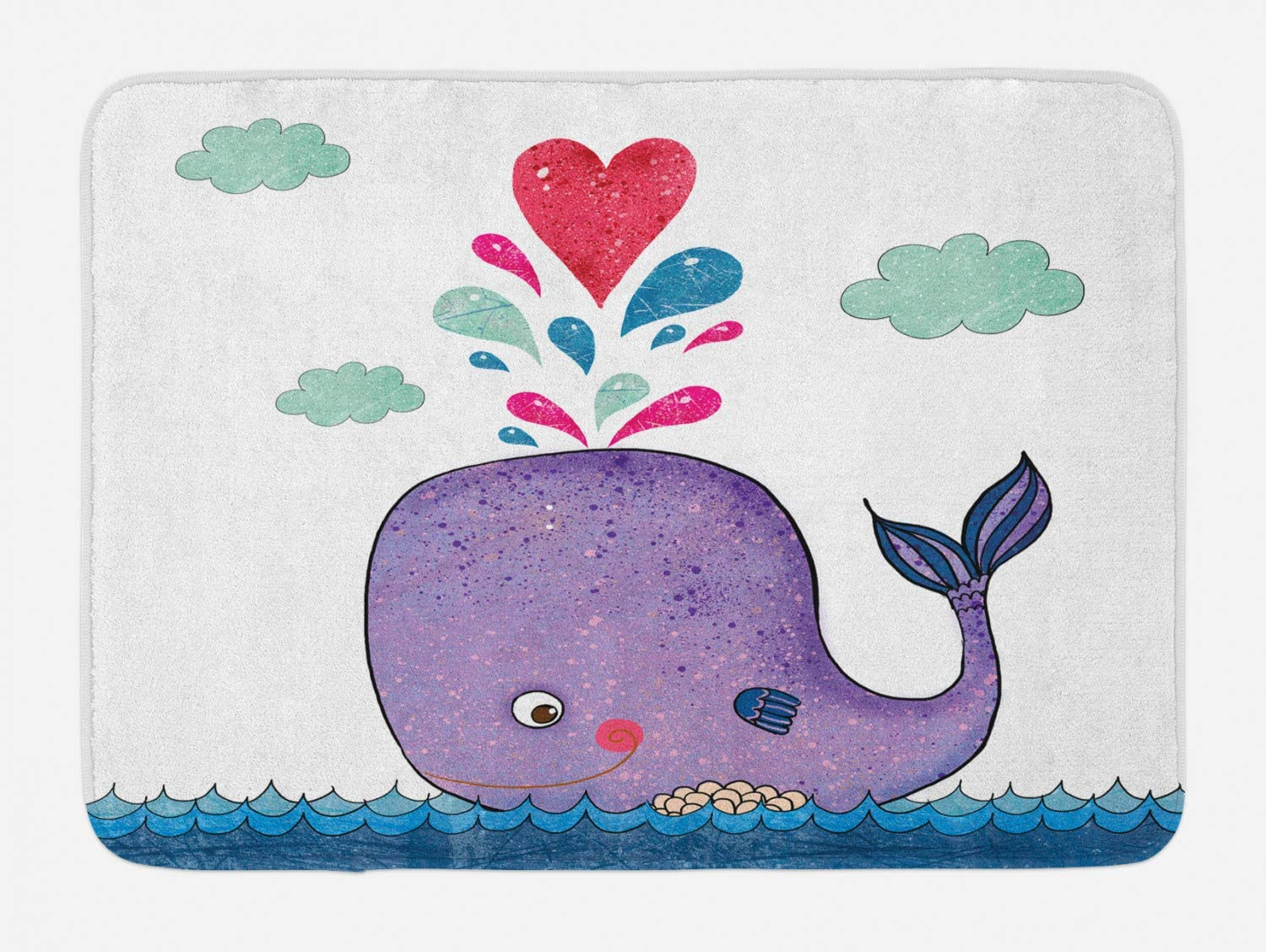 Ambesonne Whale Bath Mat, Smiling Mammal Motif Hearts and Clouds on Sea Print Nursery Childish Design, Plush Bathroom Decor Mat with Non Slip Backing, 29.5