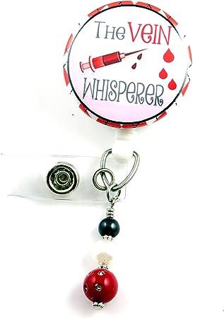 Badge Reels Nurse Badge Reel Nurse Badge RN The Blood Whisperer Phlebotomist Badge Clip Pediatric Retractable ID Badge Holder Name Badge Holder