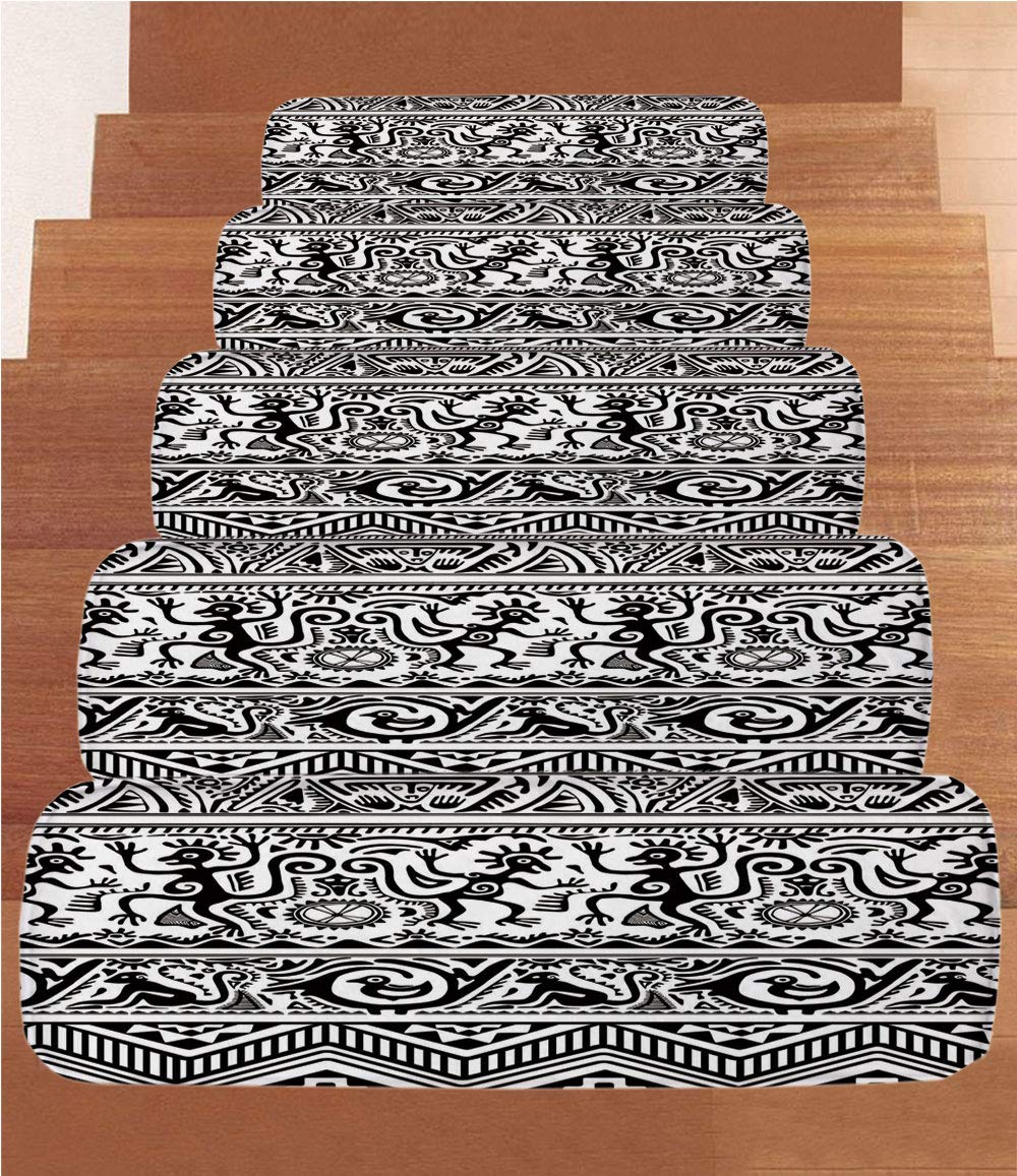 iPrint Non-Slip Carpets Stair Treads,Primitive,Monkeys Birds Primitive Animal Motifs Tribal Ornaments African Petroglyph Theme,Black White,(Set of 5) 8.6''x27.5'' by iPrint (Image #1)
