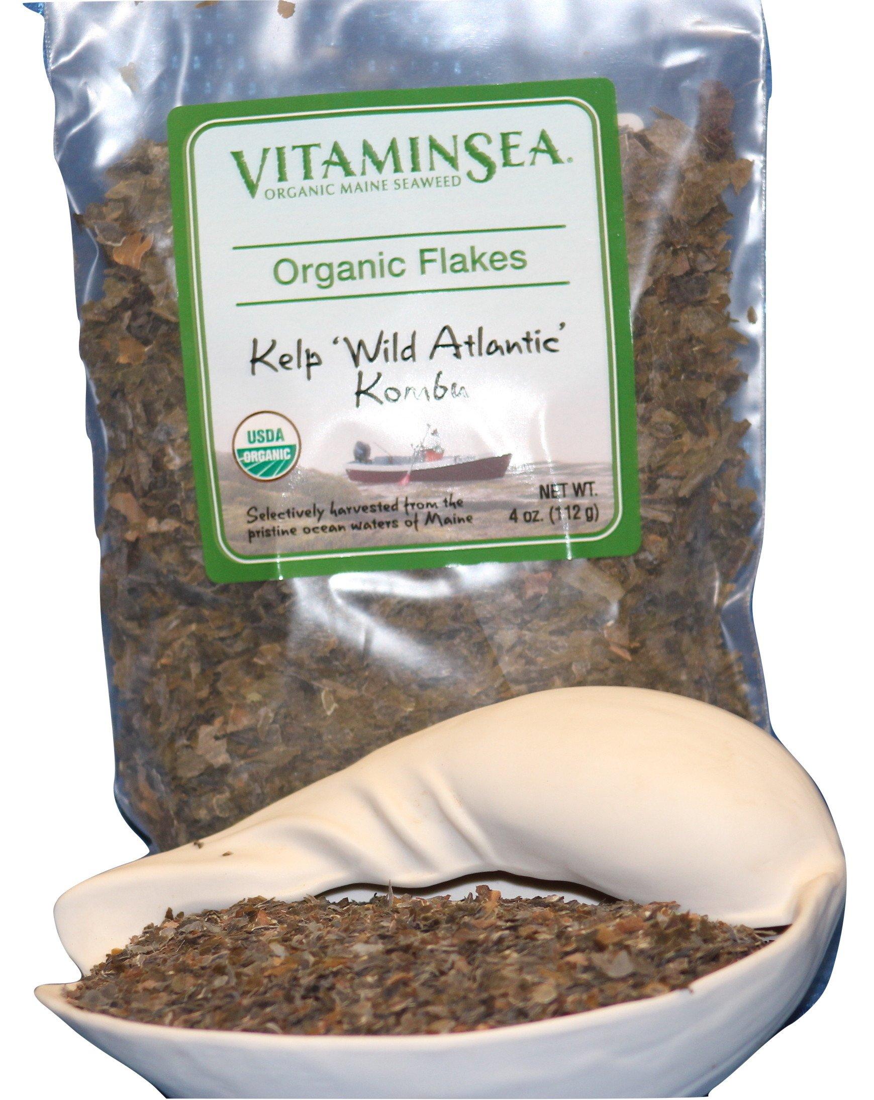 Organic Kombu Flakes Kelp Seaweed - 4 oz bag - USDA & Vegan Certified - Kosher - Hand Harvested from the Atlantic Ocean Maine Coast - Sun Dried Raw and Wild Sea Vegetables VitaminSea (Kombu Fks 4oz)