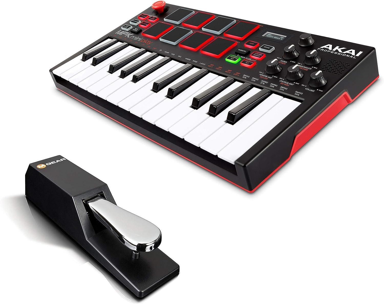 AKAI Professional MPK Mini Play + M-Audio SP-2 - Mini teclado controlador MIDI USB completamente independiente con altavoz, pads, efectos y software + ...