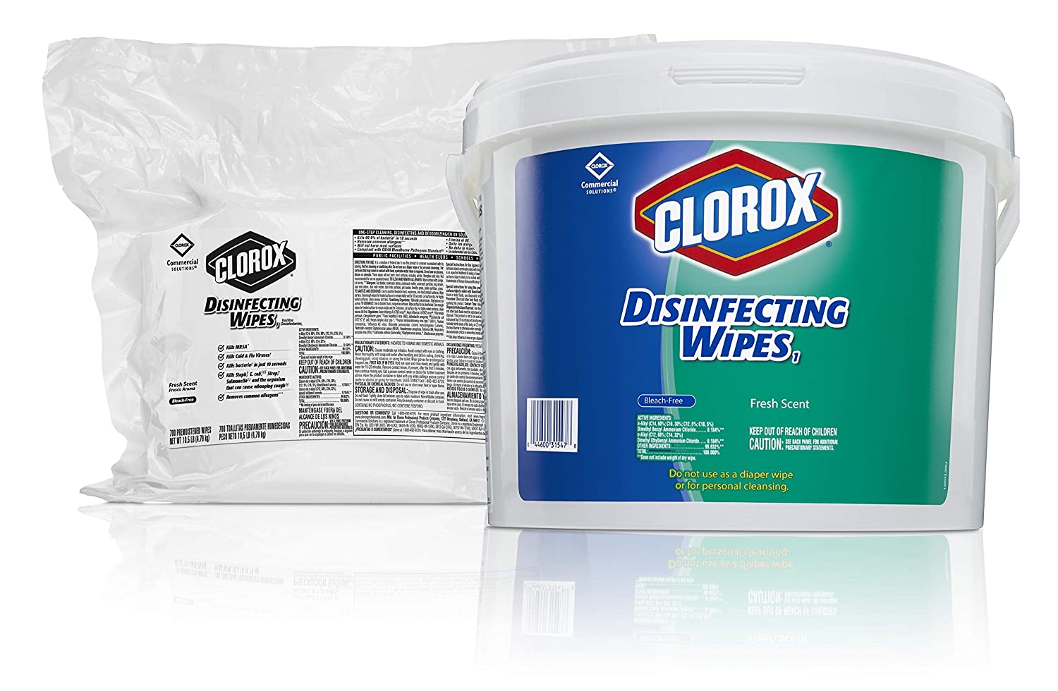 Clorox Commercial Solutions Disinfecting Wipes, Fresh Scent, 700 Count (Pack of 2) (31428)