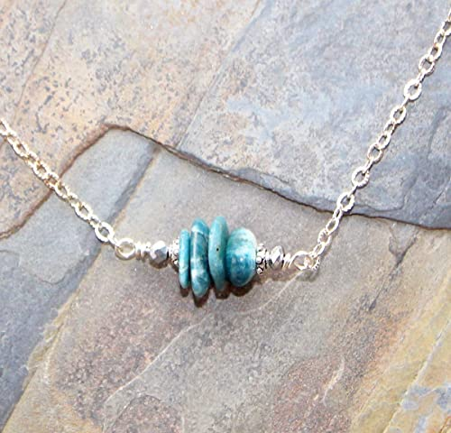 Blue Apatite /& Pebbles Necklace Earth Friendly Beach Gray and White Necklace Natural Rock Jewelry Made in Alaska Stone Stacked Pendant