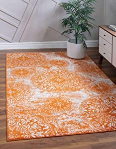 Unique Loom Sofia Traditional Vintage Rug_SOF007, 4 x 6 Feet, Orange/Ivory