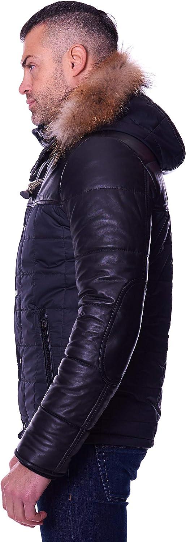 D'Arienzo Blouson Cuir Noir Homme Doudoune avec Capuche et Tissu Veste Agneau Véritable Cuir Made in Italy Sky Noir