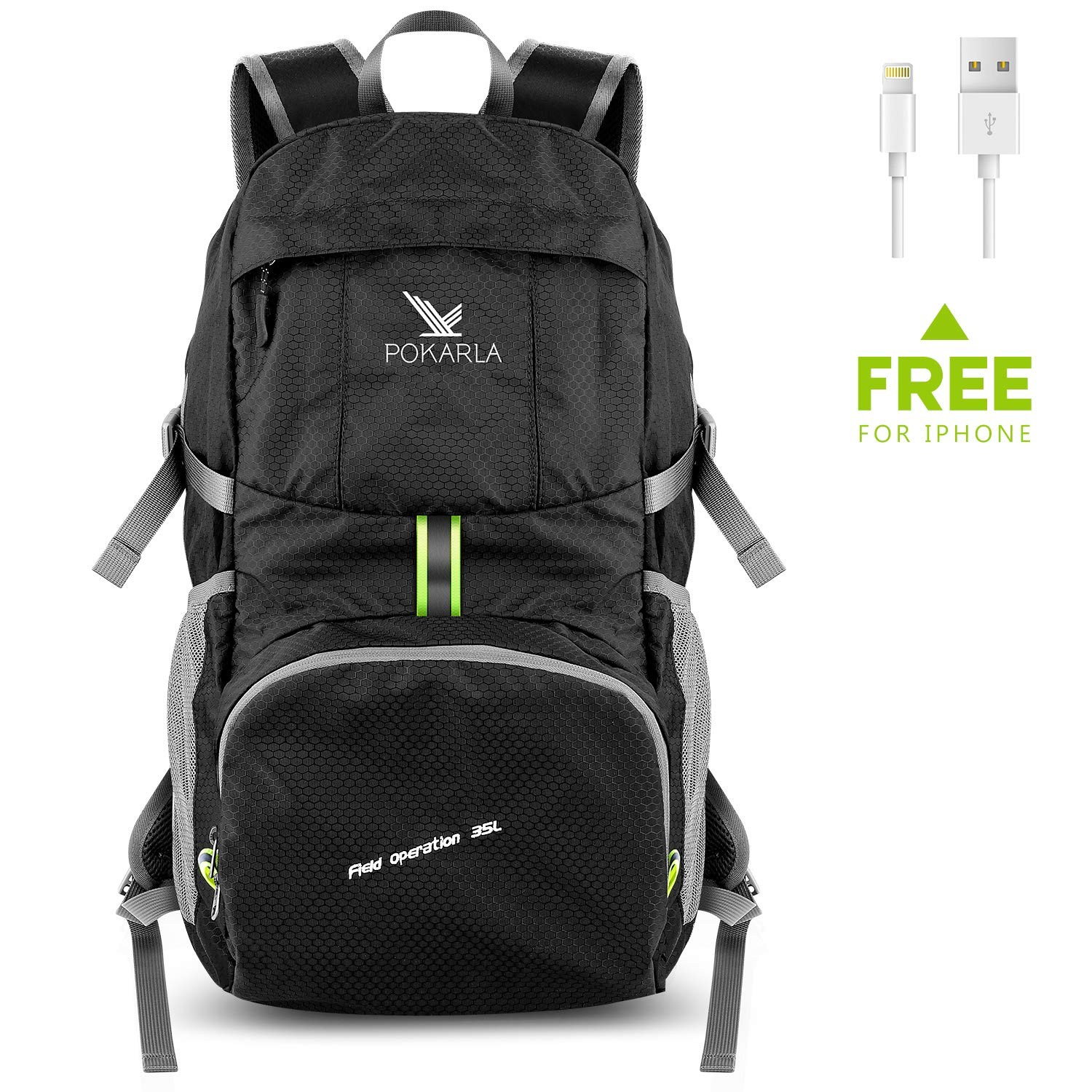 Pokarla Foldable Durable Travel Hiking Backpack 35L Ultra Lightweight Packable Carry On Daypack Unisex for Outdoor Sports Black