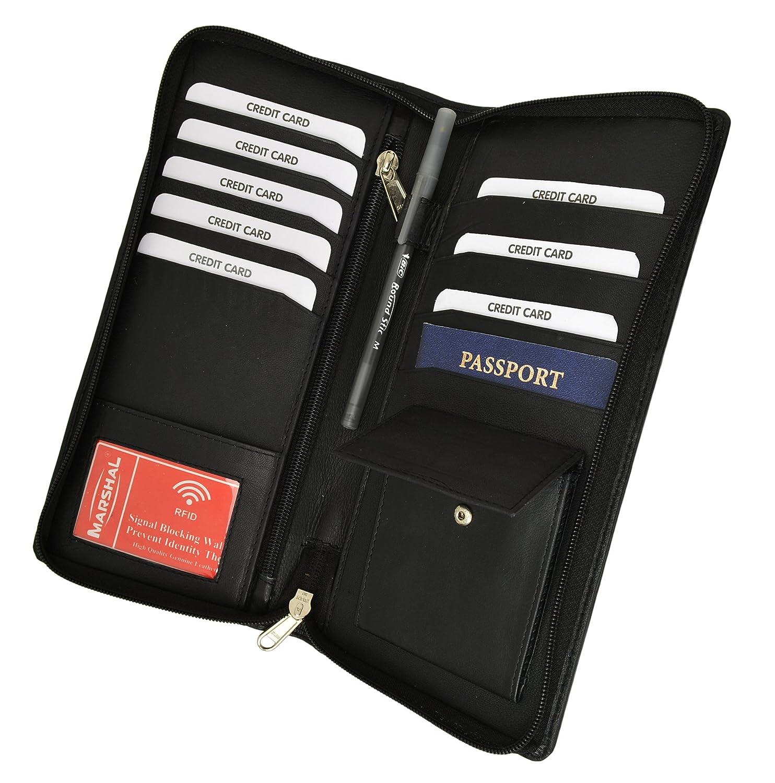 8e02bc91e750 RFID Premium Leather Zipper Travel Credit Card Passport Wallet