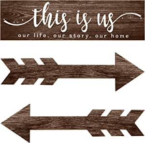 3 Pieces This is Us Wall Decor Rustic Wood Signs Family Quotes Wall Sign Home Decor and Wooden Arrow Hanging Signs Wood Grain Background Wall Decor for Home Bedroom Living Room, 15 x 4 x 0.2 Inch