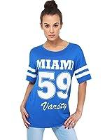 KRISP® Femme Tee shirt ample Imprimé Baseball