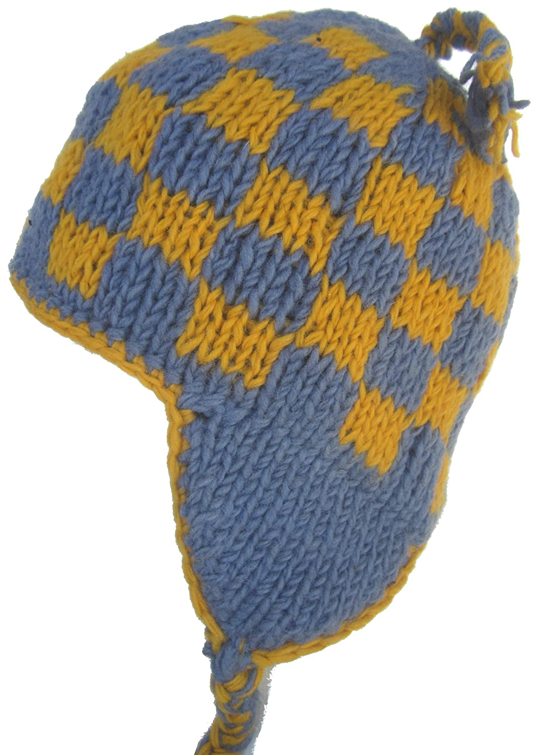 Wool Winter Chullo Beanie Fleece Lined Toque Cap Ear Flaps (Blue   Yellow  Check) at Amazon Men s Clothing store  3d0b2ab799d