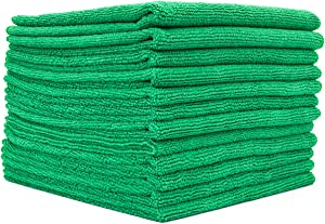The Rag Company (12-Pack) 16 in. x 16 in. Commercial Grade All-Purpose Microfiber Highly Absorbent, LINT-Free, Streak-Free Cleaning Towels (Green)