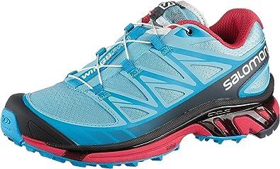 Salomon Women's Wings Pro Terrain Trail Running Shoe, Air/Blue Line/Papaya,