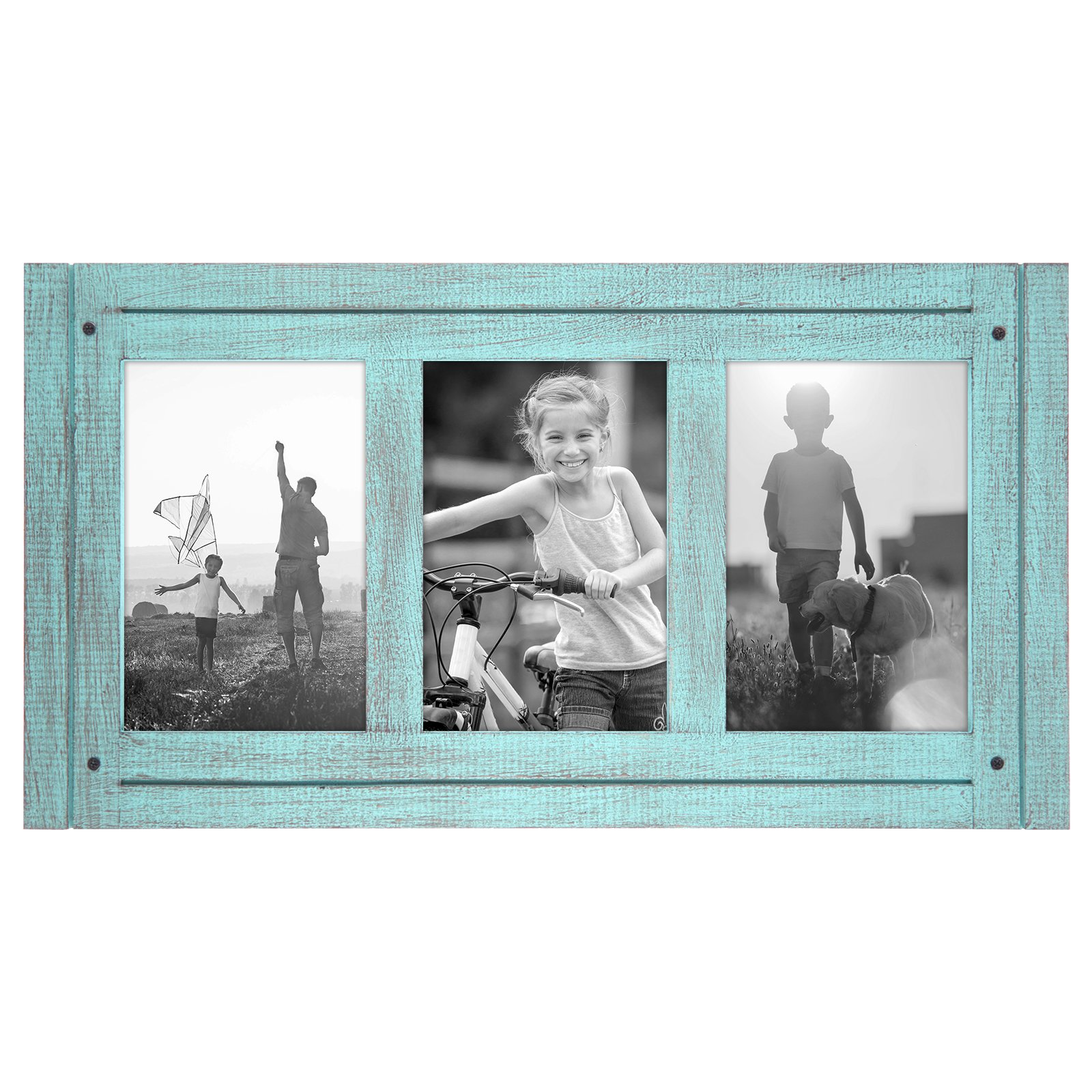 Americanflat 4x6 Turquoise Blue Collage Distressed Wood Frame - Made to Display 3 4x6 Photos - Ready to Hang - Ready to Stand - Built-in Easel by Americanflat
