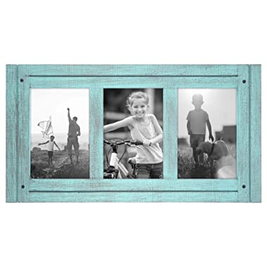 Americanflat 4x6 Turquoise Blue Collage Distressed Wood Frame - Made to Display Three 4x6 Photos - Ready to Hang - Ready to Stand - Built-in Easel