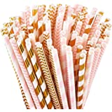 LOKIPA Biodegradable Paper Drinking Straws, Pack of 100 Pink Straws/Gold Straws for Party Supplies, Birthday, Wedding, Bridal/Baby Shower Decorations and Celebrations