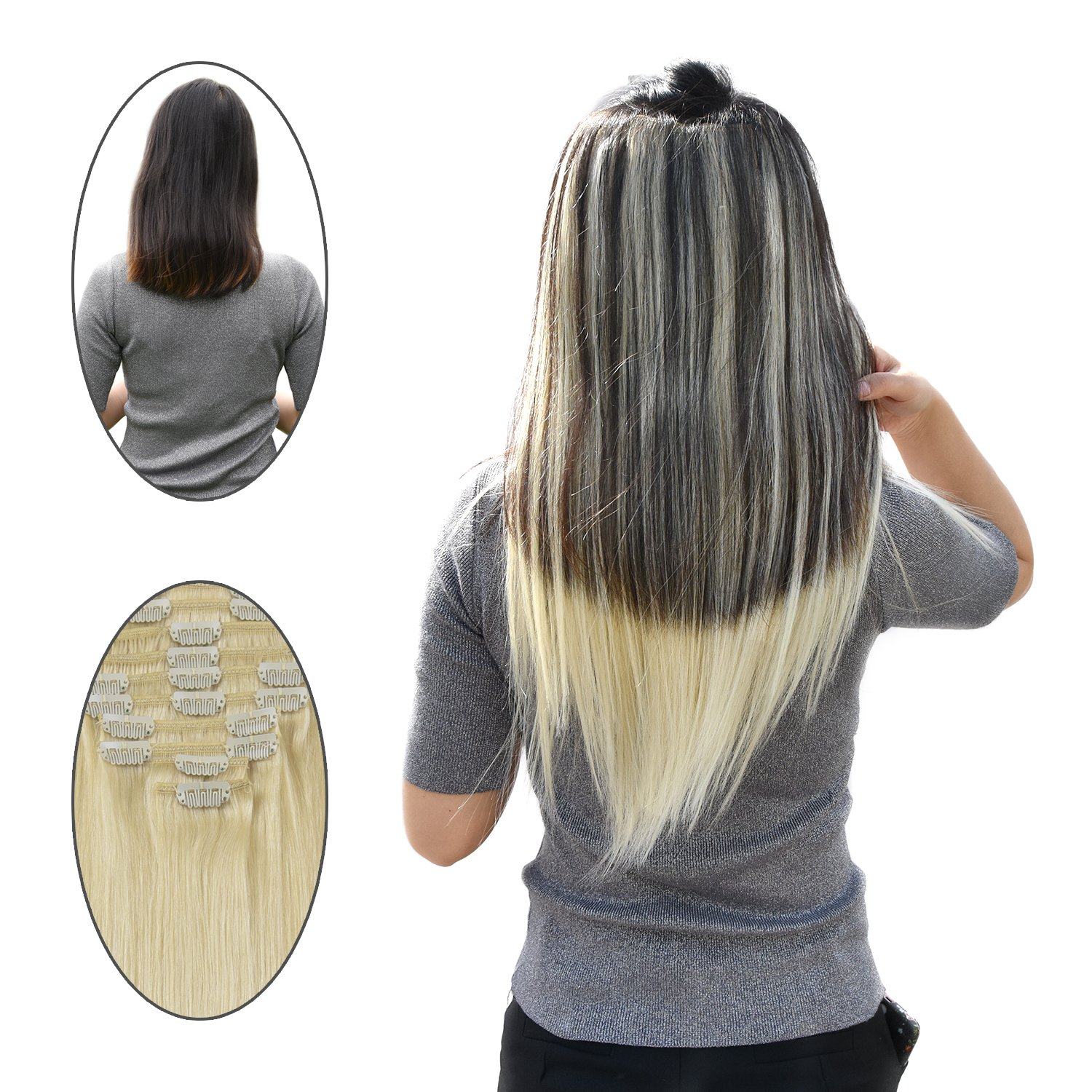 Remy Clip In Hair Extensions Blonde 16 Inches 613 Light 100 Gram