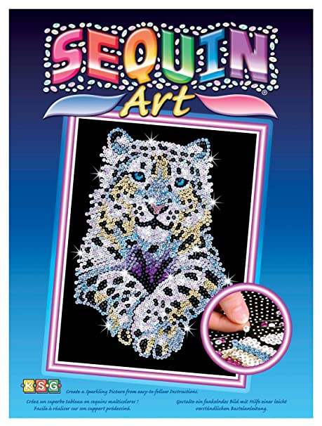 Amazon Com Sequin Art Blue Snow Leopard Sparkling Arts And Crafts