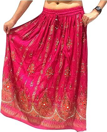 Handmade Boho Skirt Pink Long Maxi Hippie Boho Full Length Sequins Gypsy