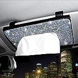 ChuLian Bling Bling Car Sun Visor Tissue Box Holder,Crystal Sparkling Napkin Holder,PU Leather Backseat Tissue Case Car Acces