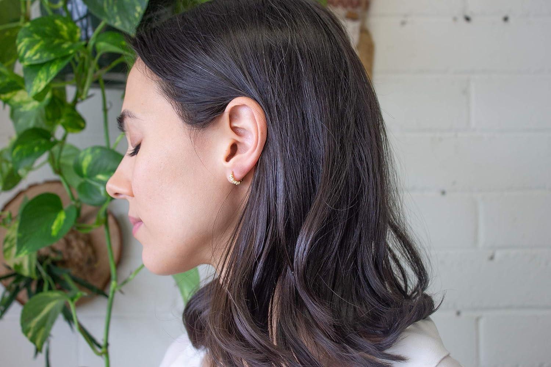 14K Gold-Plated 12mm Faux Opal Earrings Opal Huggie Earrings Opal Hoop Earrings for Women