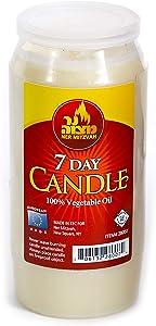 Ner Mitzvah 7 Day Yartzeit Candle - Kosher Yahrtzeit Memorial and Yom Kippur Candle in Plastic Holder