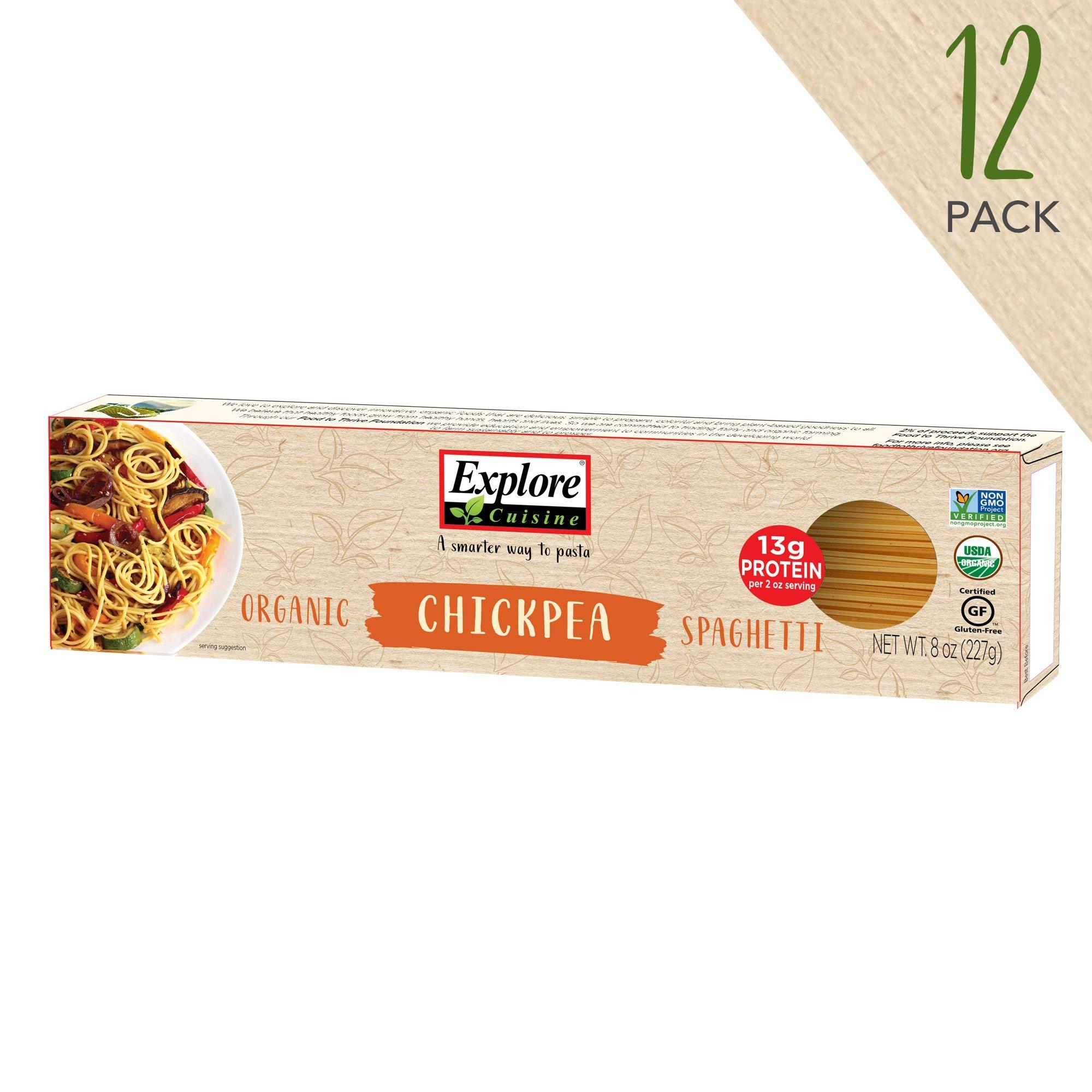 Explore Cuisine Organic Chickpea Spaghetti (12 Pack) - 8 oz - High Protein, Gluten Free Pasta, Easy to Make - USDA Certified Organic, Vegan, Kosher, Non GMO - 48 Total Servings by EXPLORE CUISINE