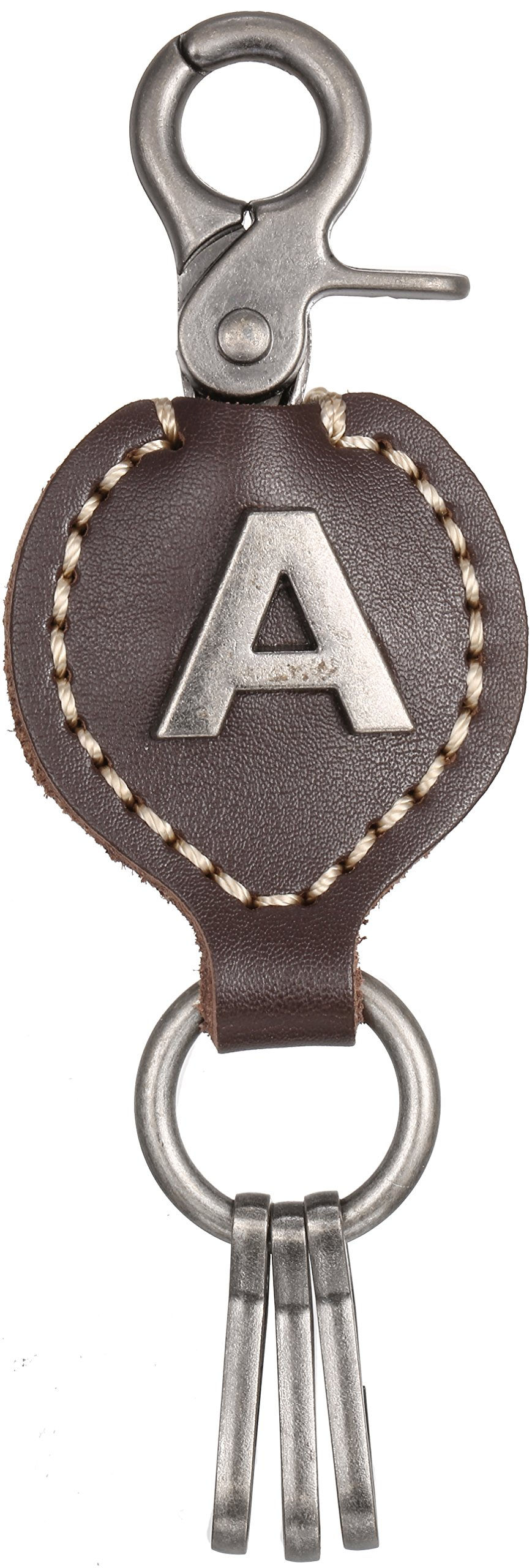 Brown Leather Alphabet Keychain, Single Letter with Easy Clasp Key – by Marino Ave