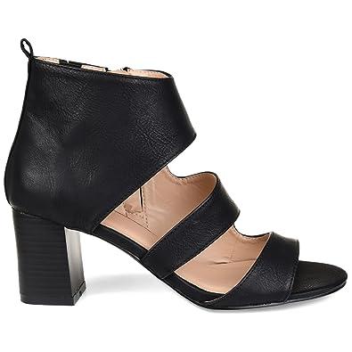 5748fca02271 Brinley Co. Womens Joyce Side-Zip Faux Leather Stacked Heel Open-Toe Sandals