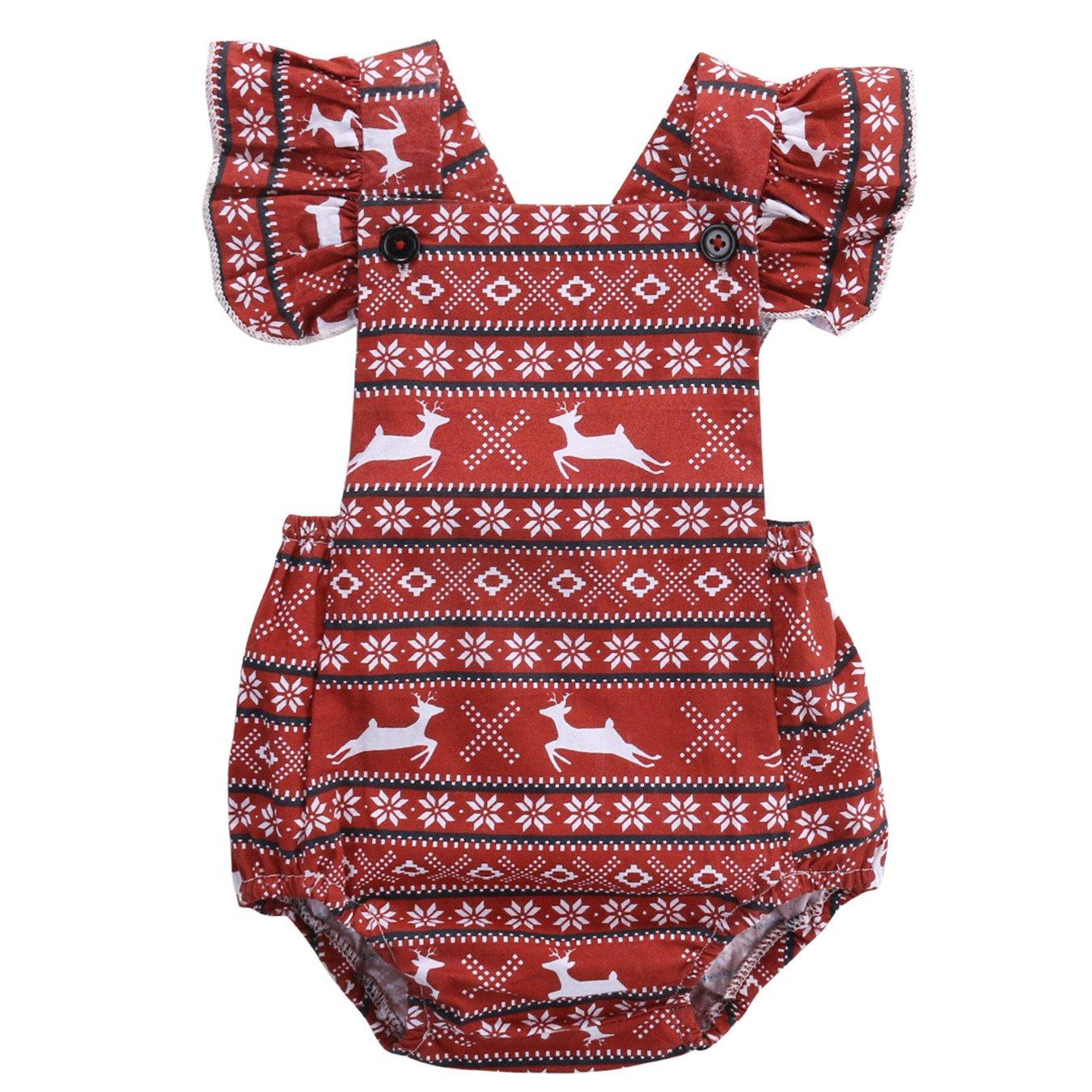 Toddler Baby Girl Deer Ruffles Deer Romper Jumpsuit Outfits Sunsuit Christmas Gift