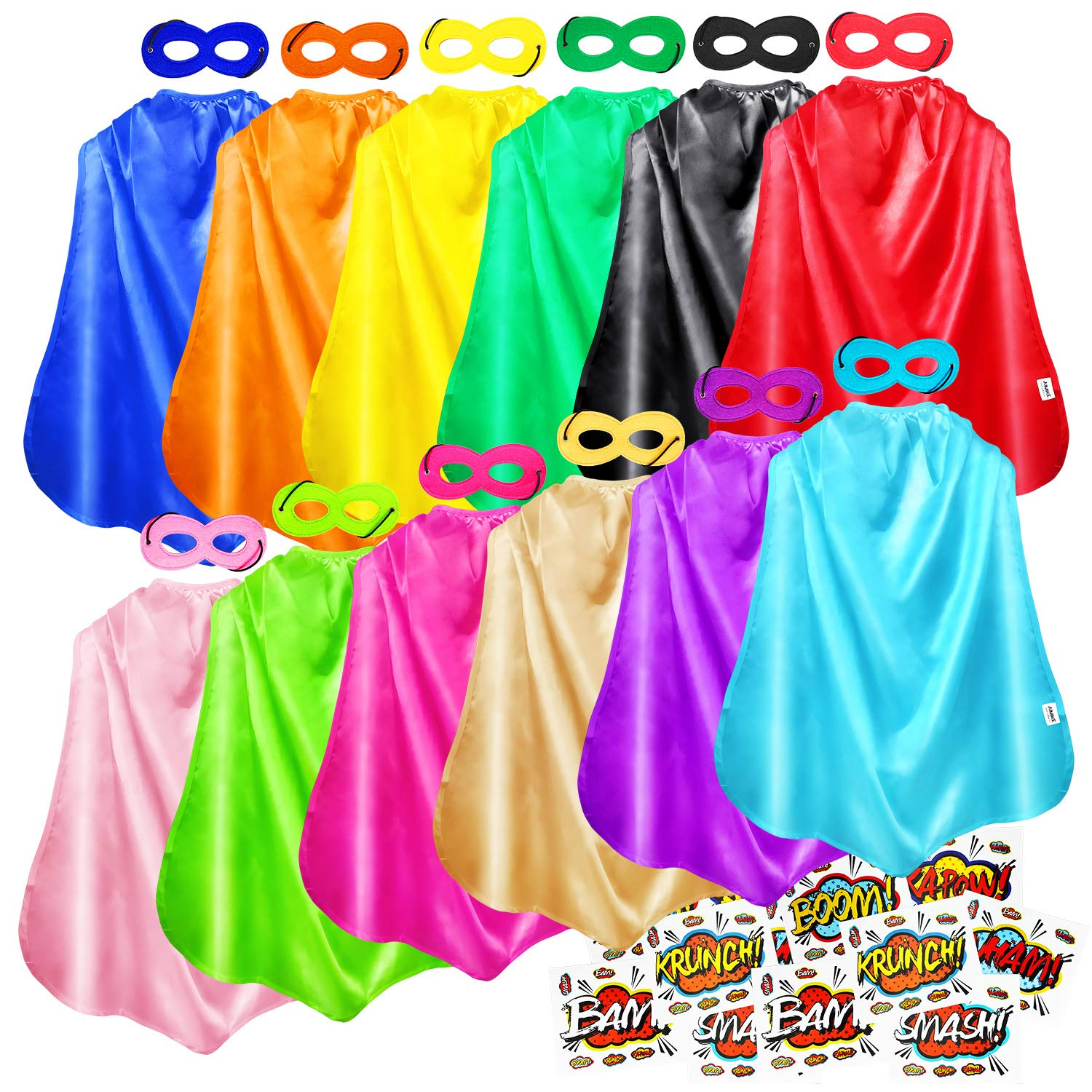 AIMIKE Superhero Capes and Masks, Bulk Pack for Kids Party, DIY Dress Up Superhero Costume, 12 Colors Sets with Superhero Stickers