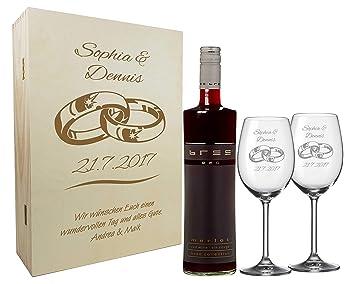 Graviertes Geschenkset Zur Hochzeit Aus 2 Weinglasern Weinflasche
