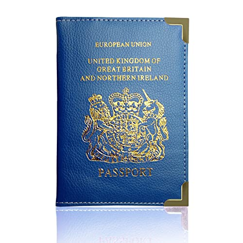 Passport Holder For UK And European Passport Protector Cover Wallet PU Leather by Lizzy® (Royal Blue)