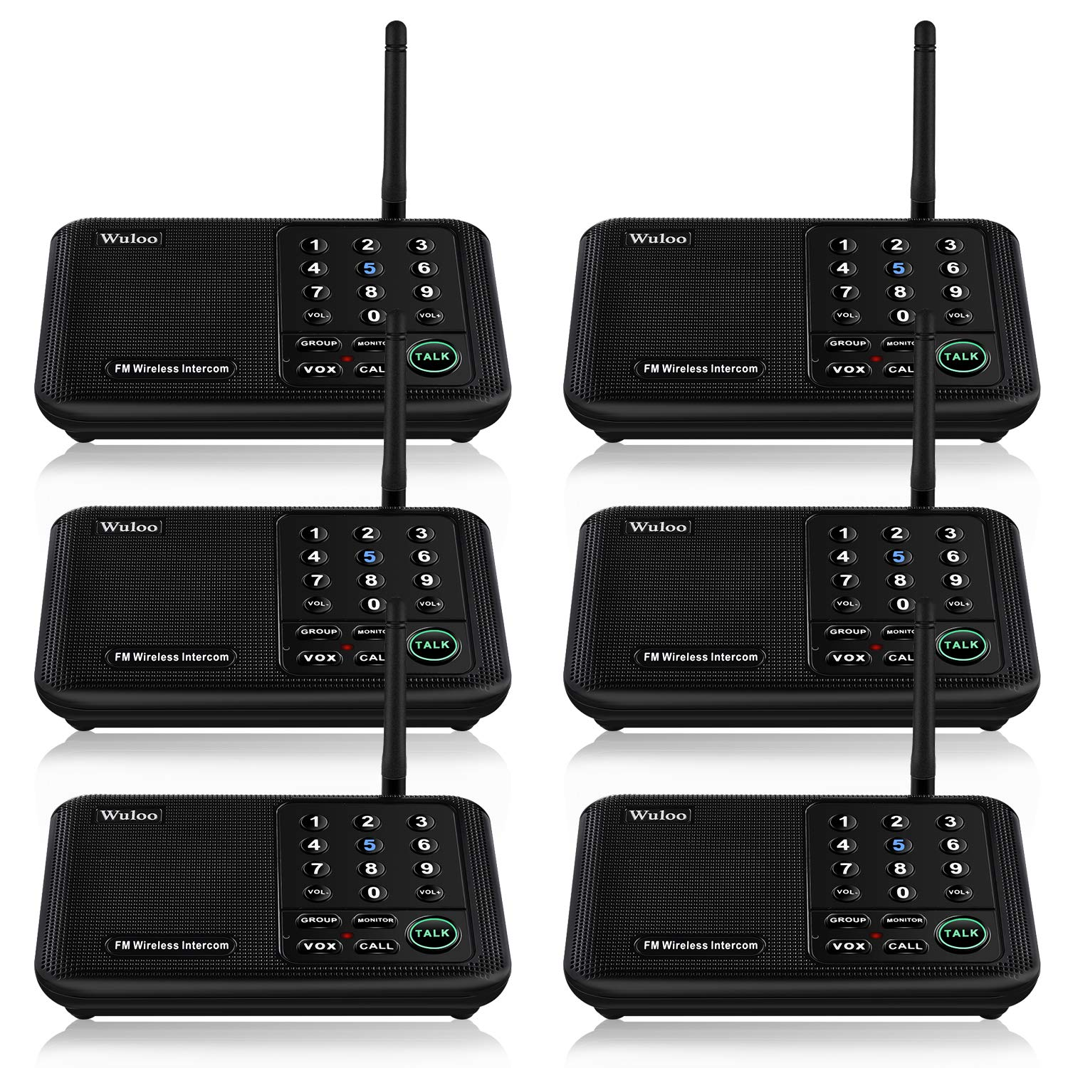 Wuloo Intercoms Wireless for Home 5280 Feet Range 10 Channel 3 Code, Wireless Intercom System for Home House Business Office, Room to Room Intercom, Home Communication System (6 Packs, Black)