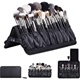 Rownyeon Professional Makeup Brushes Organizer Bag Makeup Artist Cosmetic Case Leather Makeup Handbag Black Travel Portable(Only Bag)