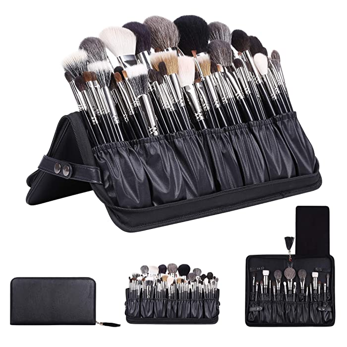 Rownyeon Professional Makeup Brushes Organizer Bag Makeup Artist Cosmetic Case Leather Makeup Handbag Black Travel Portable(Only Bag) Large