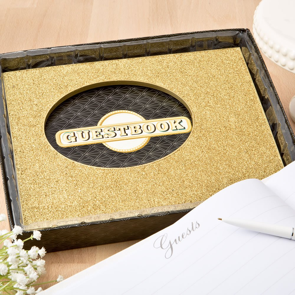 Golden elegance collection Guest book from Fashioncraft by FavorOnline