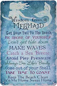 ARTCLUB Wisdom from a Mermaid Keep The Beach Clean, Metal Tin Sign, Vintage Plaque Poster Home Wall Decor