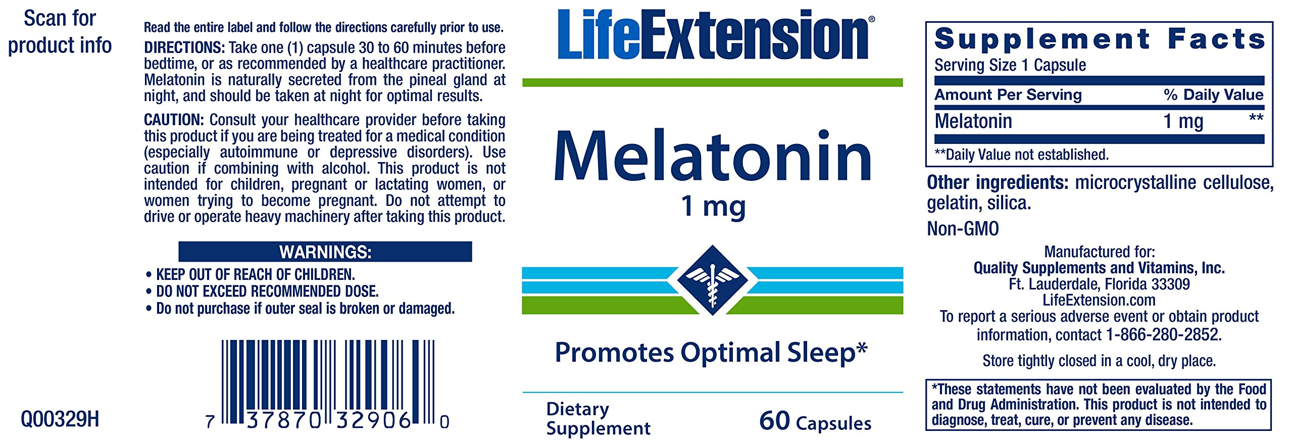 Life Extension Melatonin 1 Mg, 60 Capsules by Life Extension (Image #2)