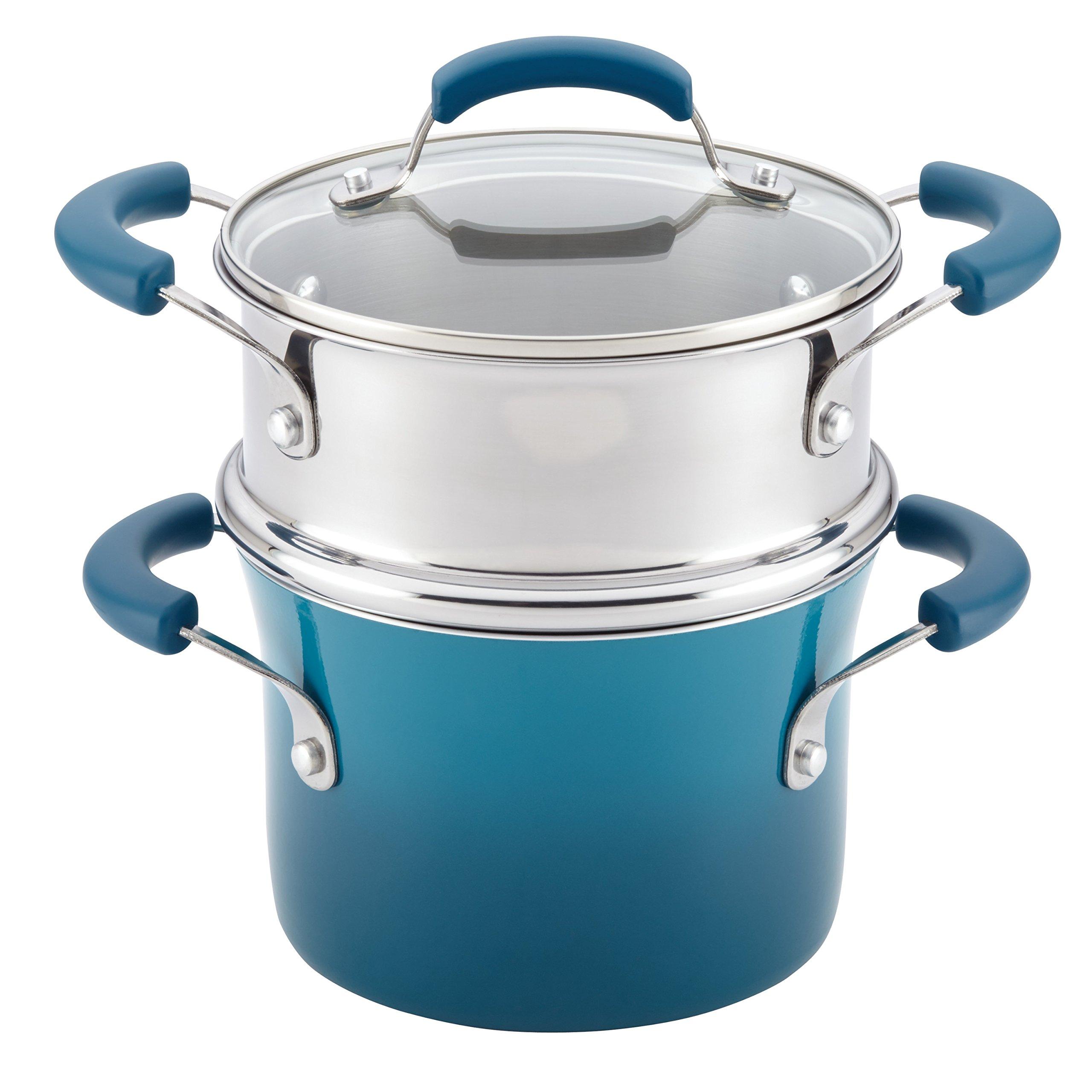 Rachael Ray Nonstick Sauce Pot and Steamer Insert Set, 3-Quart, Marine Blue Gradient