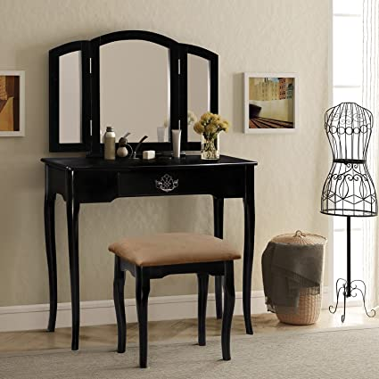 Harper U0026 Bright Designs Vanity Set Make Up Dressing Table With Mirror And  Cushioned Stool