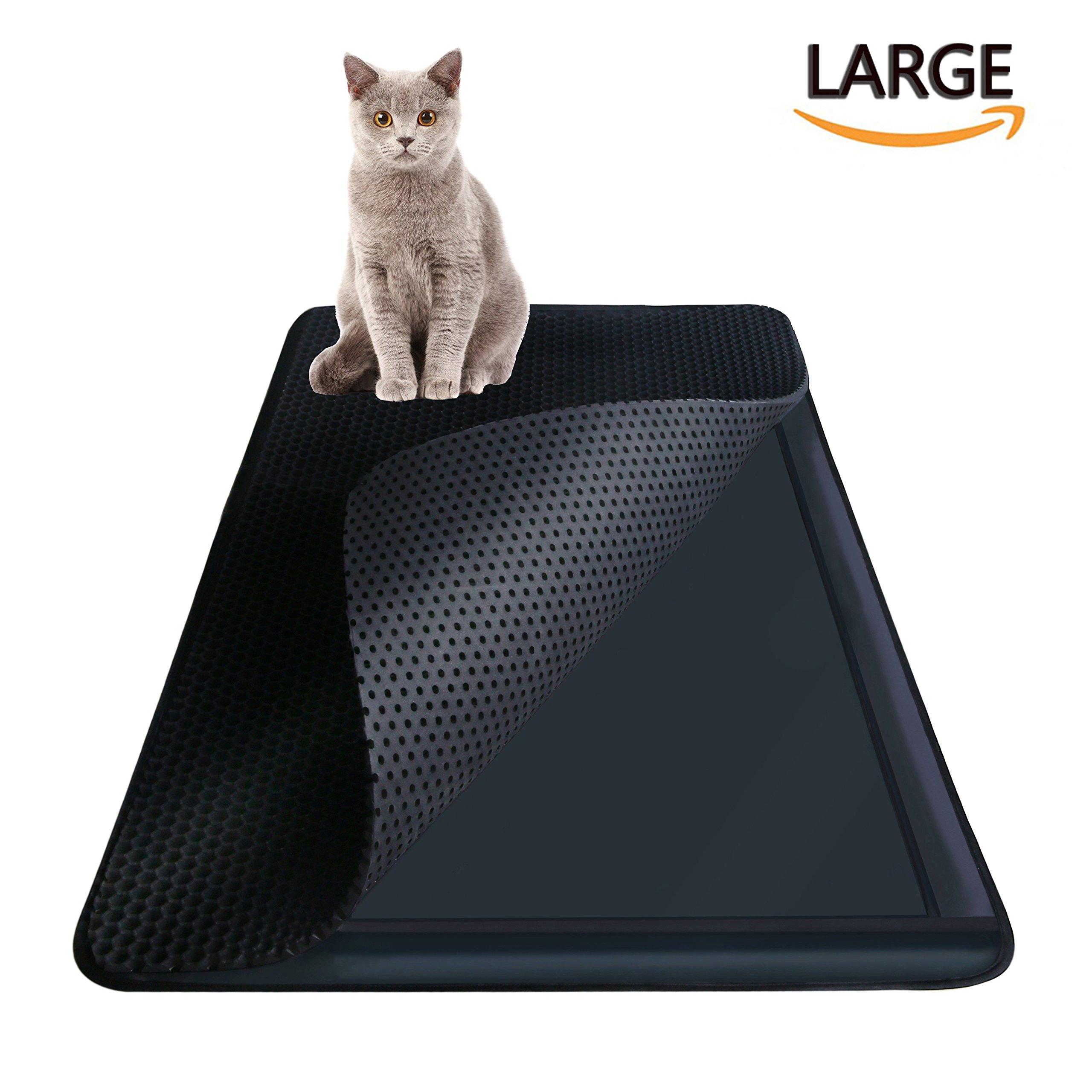 Highland Farms Select Cat Litter Mat - Cat Litter Box Trapper with EZ Clean Large Holes - Waterproof Double Layer Cat Litter Mat Catcher, Large Size 30'' X 23''