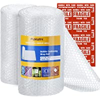 """Fuxury Bubble Cushioning Wrap Roll Air Bubble Roll 2 Rolls 72 Feet Total,Perforated Every 12"""",Included 20 Fragile Sticker Labels for Packaging Moving Shipping Boxes Supplies"""