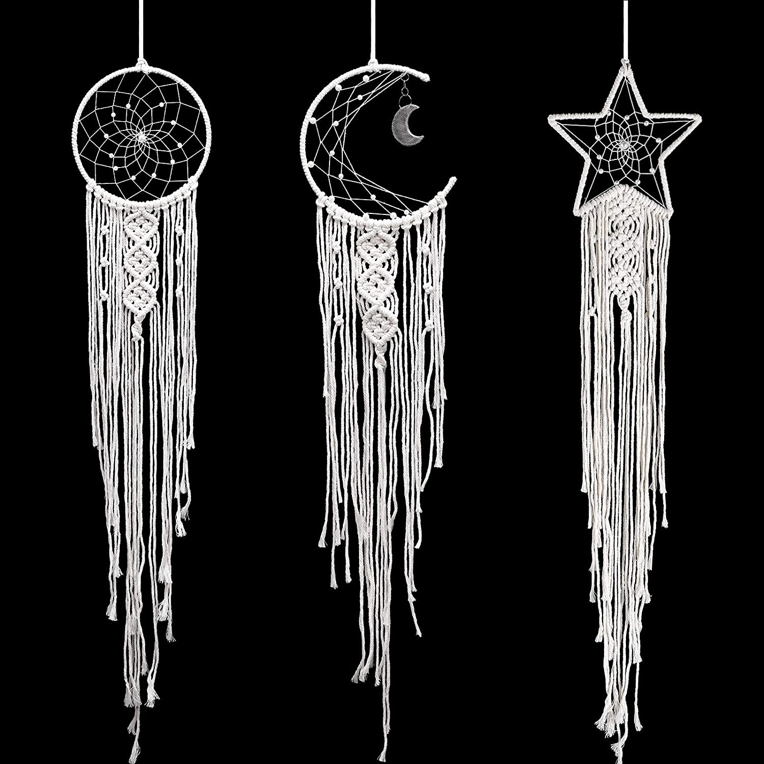 Jetec 3 Pieces Dream Catcher Moon Sun Star Design Handmade Bohemian White Macrame Wall Hanging for Wall Hanging Home Decoration