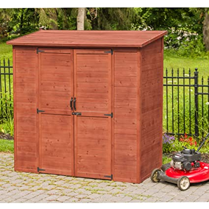 Leisure Season ELSS2003 Extra Large Outdoor Storage Shed - Brown - Wooden  Gardening Lockers, Closet - Tool Organizer Cabinet with Double Doors,