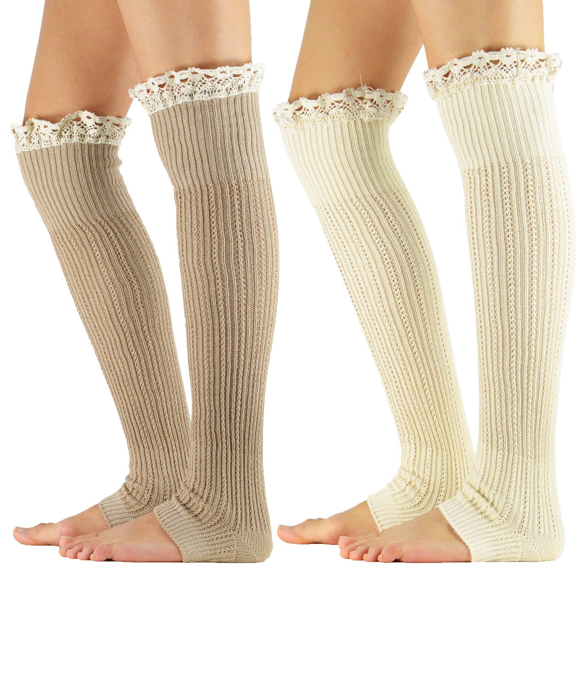 Zando Lace Boot Crochet Knitted Cable Wide Calf Boot Leg Cuffs Socks for Womens Winter Soft Knee High Leg Warmers 2 Pairs Khaki Beige Leg Warmers